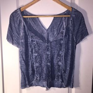 Hollister Blue Top with Lace Front